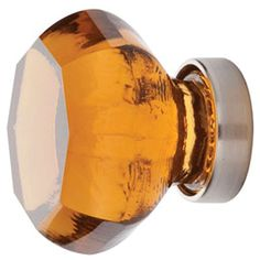 1 1/4 Inch Old Town Amber Cabinet Knob (Brushed Nickel Finish)