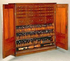 This stunning Cuban mahogany tool cabinet was made by Arthur Sorrill of West Bromwich, England when he was only 19 years old. It's believed that the vertical-styled tool cabinet was built sometime around on the completion of Sorrill's apprenticeship. Antique Woodworking Tools, Woodworking Shop Layout, Antique Tools, Old Tools, Vintage Tools, Woodworking Plans, Woodworking Projects, Workbench Plans, Welding Projects