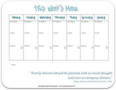 free weekly meal menu planner in color or b&w