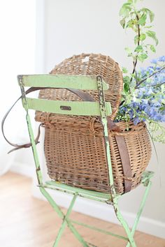 *great idea for painting the patio set when it needs an update** ~ vintage French basket with leather straps and the perfect vintage green chair