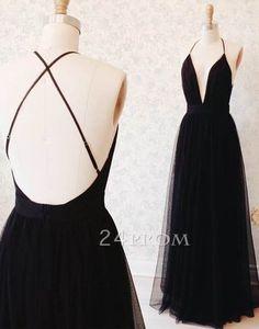 simple v neck black long prom dress, backless black evening dress