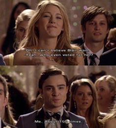 Gossip Girl Chuck and Blair (one of my favorite scenes. oh the things does for Blair) I may have cried here