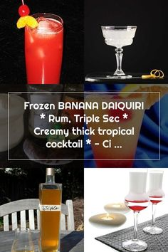Frozen BANANA DAIQUIRI * Rum, Triple Sec * Creamy thick tropical cocktail * - Cindy's ON-Line recipe box Triple Sec, Daiquiri, Frozen Banana, Recipe Box, Rum, Cocktails, Tropical, Soap, Bottle