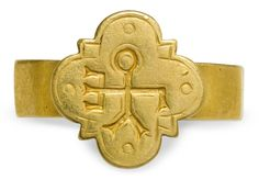 Byzantine gold finger ring with a monogrammed quatrefoil bezel. Greek monogram reading: *of George*. C. 7th-9th century AD