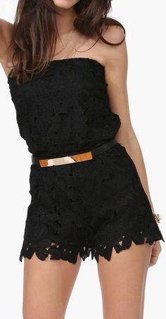 Black Crochet Romper //