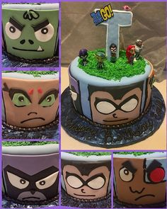 Teen Titans Cake Fondant Cake Toppers, Teen Titans Go, Tobias, 7th Birthday, Party Cakes, Kid Stuff, Homemade, Desserts, Kids