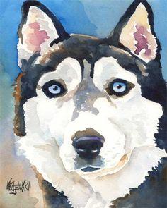 Siberian Husky Art Print of Original Watercolor by dogartstudio