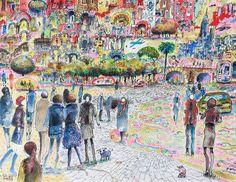 """""""Drones and bull droids"""" 2014 Watercolor, pastel, chacroal & Ink on paper Canson 140 lbs 13.7 x 10.6 inches. Carlos Pardo.    """"Drones y toros robot"""" 2014. Acuarela, pastel,carboncillo y tinta S/ papel Canson 300grs 35 x 27 cms. Carlos Pardo  Item 0526 www.ArtCarlosPardo.com"""