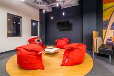 Fatboy Bean Bags, Herman Miller, Edison bulbs, hangout, work lounge, chill spot, Commercial Project - Cheatham Fletcher Scott