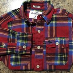 Kids Abercrombie Flannel Long sleeved, button down. Vibrant reds, blues, greens and yellows. Super comfy. Abercrombie & Fitch Shirts & Tops Button Down Shirts