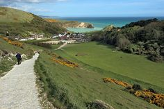 Perfectly circular Lulworth Cove, seen from the South Coast Path near West Lulworth in Dorset County, England