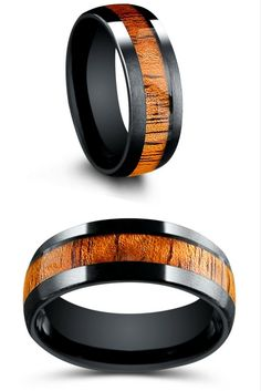Mens black tungsten ring with genuine koa wood going through the center of the ring. This mens wood wedding ring makes the perfect wedding ring. I finally found a ring that is unique!!! Matte textured top with a beautiful koa wood.