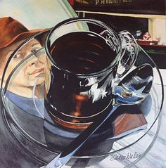 love the idea of the picture underneath the glass saucer Hopper 8x8 by Carrie Waller Watercolor ~ 8 x 8