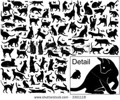 Collection of vector black cats in various positions with basic outlines included by Robert Adrian Hillman, via Shutterstock