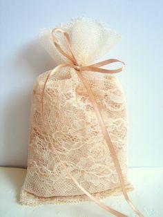 Lace Favor Bags,Vintage Favor bag, Wedding Favor Bags,Rustic Favor Bag, Vintage Lace Bags,Vintage Wedding. $80.00, via Etsy.