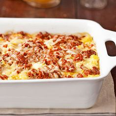 Spicy Brunch Lasagna This make-ahead egg casserole features lasagna noodles, Alfredo sauce and hash brown potatoes, making it great for brunch or a simple dinner.