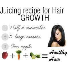 Juice Recipe for Hair Growth -- Here's another recipe that can give you a healthy, glowing hair and even skin! Try to make a glass of this now.. #cucumber #carrots #apple