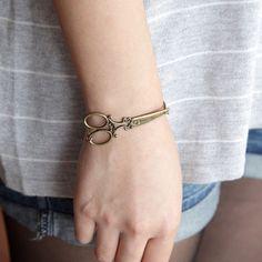 antique brass victorian scissors bracelet by Sevinoma on Etsy