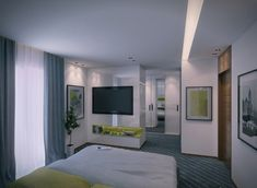 modern bedroom apartment with modern furniture