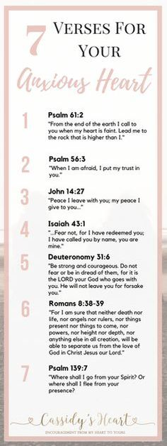 7 Verses For Your Anxious Heart - Scripture and Quotes - Goodsstr Encouragement, Believe, Prayer Board, Bible Scriptures, Psalms Verses, Trust God, Word Of God, Christian Quotes, Wise Words