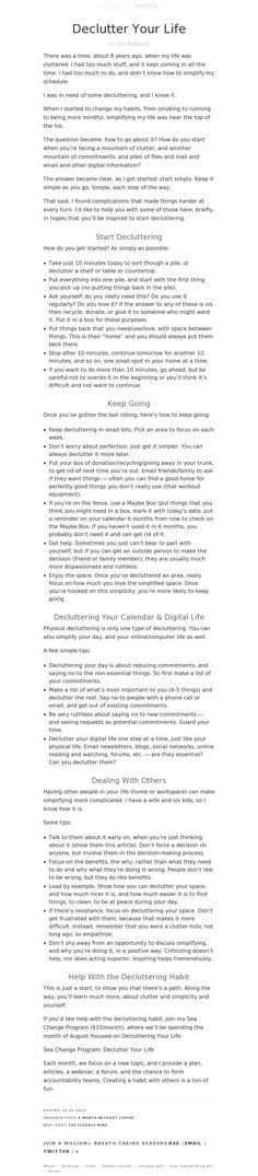 """Declutter Your Life"" by Leo Babauta, pinned via pinstamatic.com"