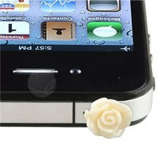 New Lovely White Anti Dust Rose Flower Earphone Jack Plug Cap for Iphone 5 4 4s by new brand. $9.99