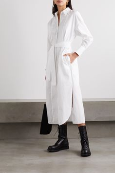 White cotton-poplin Concealed button fastenings through front cotton Dry clean Mother-of-pearl: Indonesia Made in Italy Minimal Classic Style, Brunello Cucinelli, White Kimono, Midi Shirt Dress, Shirt Blouses, Shirts, White Long Sleeve, Clothing Patterns, Poplin