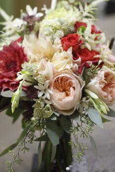 pomegrante toned flowers, cafe au lait dahlias, limelight hydrangea, peach juliet roses ~ Holly Chapple, The full Bouquet