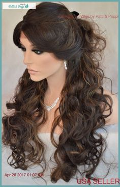 Lace Front Heat Friendly C Parting Layered Curly Wig FS4.28 Gorgeous Sexy #Sepia #Layered