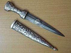 "9""Indo-Persian Mughal Rajput Dagger Knife Fine Silver Work Damascus Steel Blade"