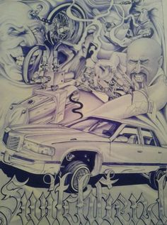 Lowrider Drawings, Arte Lowrider, Chicano Lettering, Graffiti Lettering, Unique Drawings, Beautiful Drawings, White Art, Black And White, Gangster Tattoos