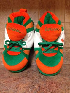 MEN'S MIAMI HURRICANES SLIPPERS HAPPY FEET SHOES-SIZE: XL #HAPPYFEET #HighTop