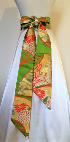 Vintage KIMONO Wedding sash OBI bow belt brocade green gold