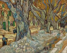 The Large Plane Trees | Road Menders at Saint-Rémy (by Vincent van Gogh at the Cleveland Museum of Art)
