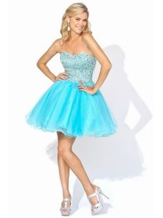 A-line Strapless Sequin Tulle Short Prom Dress