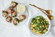 Coop Mega hjelper deg å lage roastbiffruller og potetsalat til konfirmasjon koldtbord.