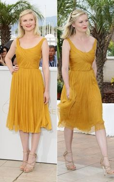 "Kirsten Dunst in yellow Chloe dress @ ""Melancholia"" Photocall, Cannes 2011"