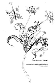 drawing of Exotic Tropical Flowers | : Exotic flower and butterfly. NeoPopRealism ink pen/ pattern drawing ...