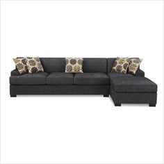 Poundex Poundex Benford Faux Linen Chaise-Sofa Sectional in Ash Black