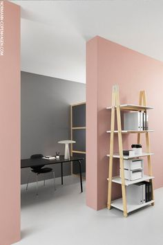 This home office shows the important of clean flat colour if you're using pinks and greys together.
