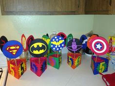 Superhero birthday party table centerpieces