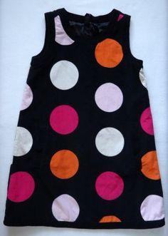 Gap-Kids-Girls-Dress-12-XL-Corduroy-Black-Pink-Orange-Dot-Sleeveless