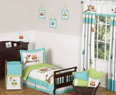 Amazon.com: Turquoise and Lime Hooty Owl Toddler Boy or Girl Bedding 5pc Set by Sweet Jojo Designs: Baby