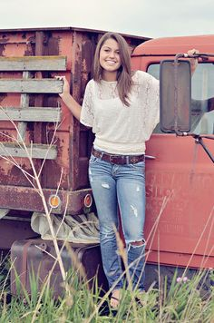 Great senior photo with old truck, by Moopiecow, via Flickr