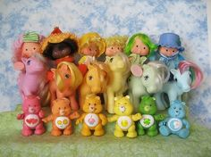 Rainbow of 80s toys. Care bears, My little ponies and Strawberry shortcake! athenastj