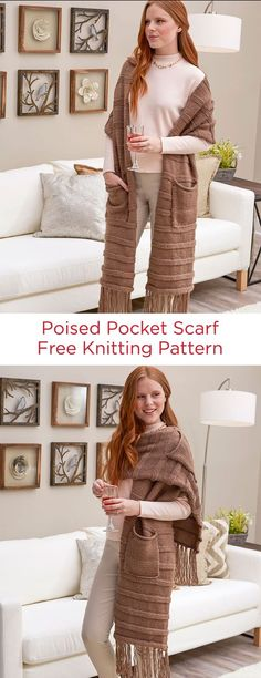 Poised Pocket Scarf Free Knitting Pattern in Red Heart Soft Essentials yarn -- This scarf has pockets! Bundle up against the cold, then wear it as a shawl once you're inside. Or simply leave the pockets off, if that suits your style.