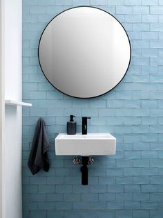 Bronte House by Kate Bell Design - interior design ideas Black Bathroom Taps, Bathroom Faucets, Bathroom Wall, Bathroom Ideas, Blue Bathroom Tiles, Taps Bath, Colourful Bathroom Tiles, Minimal Bathroom, Sink Taps
