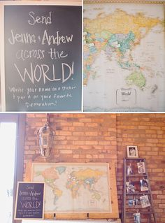 "Cute idea for a guestbook - a vintage-looking map with ""favorite destination""  pins from your guests."