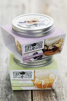 """These 3"""" 1/2 pint mason jar pies are truly portable. Perfect to store in your freezer or for a party. Find our Jar pies in stores too! Check the Retail section of our website for locations."""