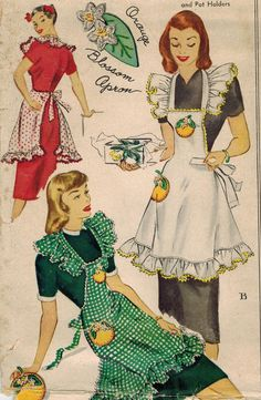 1940s McCalls Vintage Sewing Pattern 1377 Misses' Apron and Pot Holders